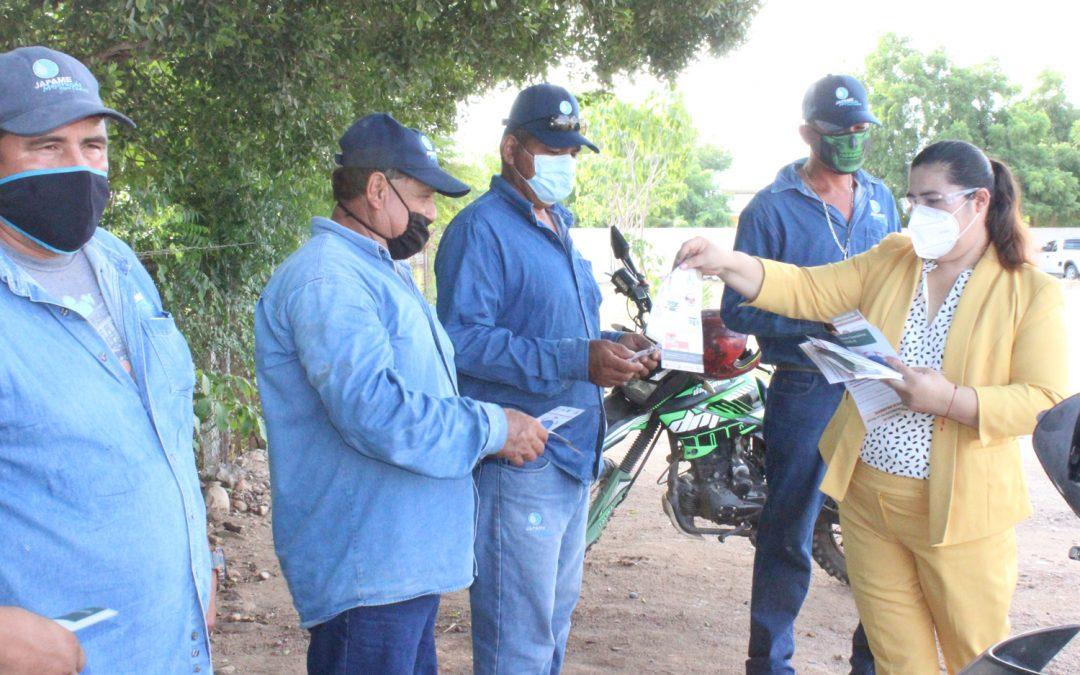 Personal de la secretaria de salud ofrecen pláticas sobre covid-19 y golpes de calor a trabajadores de Japame