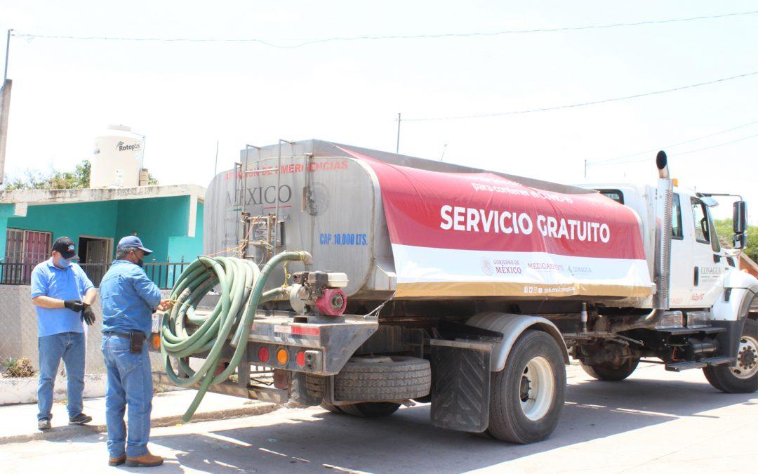 Ante insuficiencia en el abasto de agua potable en algunas comunidades del municipio, japame complementa el servicio a través de pipas
